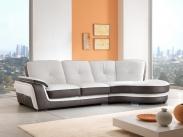 divano con angolo semitondo in pelle speed