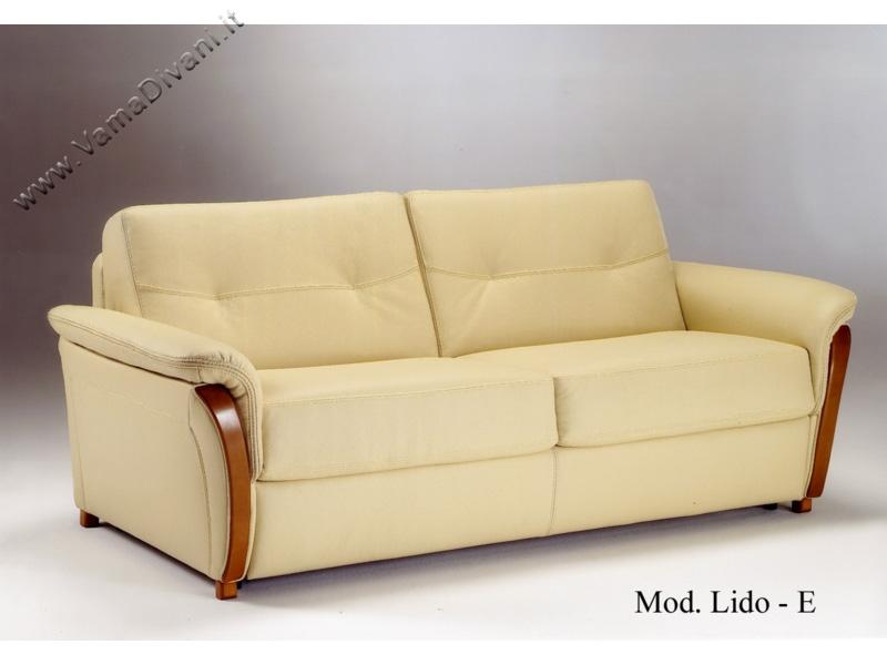 Divano letto in pelle con legno nei braccioli - Divani letto in pelle offerte ...