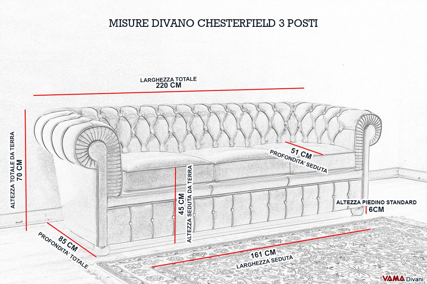 Divano chesterfield 3 posti vama divani for Divano 4 posti dimensioni