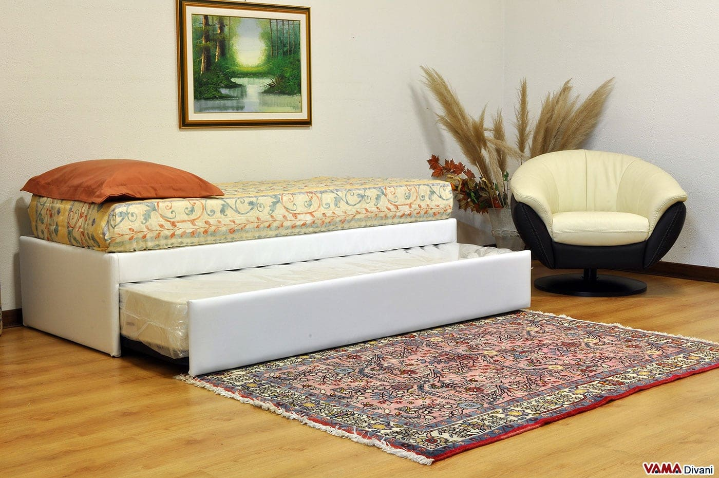 letto singolo con letto estraibile, con materassi alti 20 cm - Letti A Scomparsa Usati