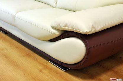 Divano moderno comodo in pelle color panna