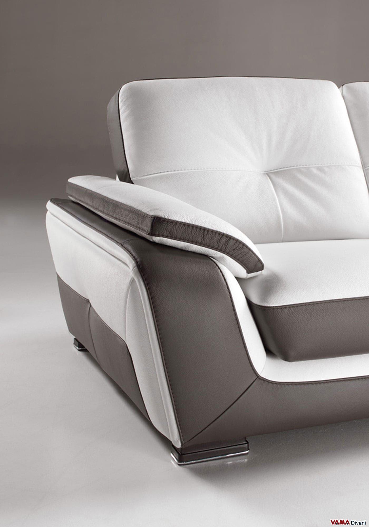 Divano angolare in vera pelle con penisola semitonda - Copridivano per divano in pelle con chaise longue ...