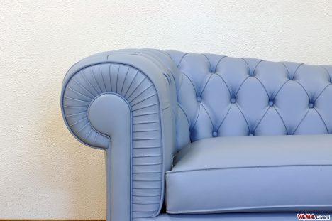 Dormeuse Chester in Pelle Pieno Fiore Azzurra