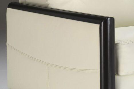 Bracciolo in legno nero moderno del Divano Letto in pelle