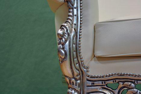 Bracciolo e piedino Poltrona Barocco in Foglia Argento