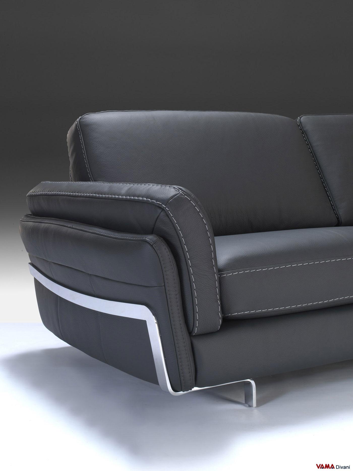 Divano angolare in vera pelle nera lineare e moderno - Copridivano angolare per divano in pelle ...