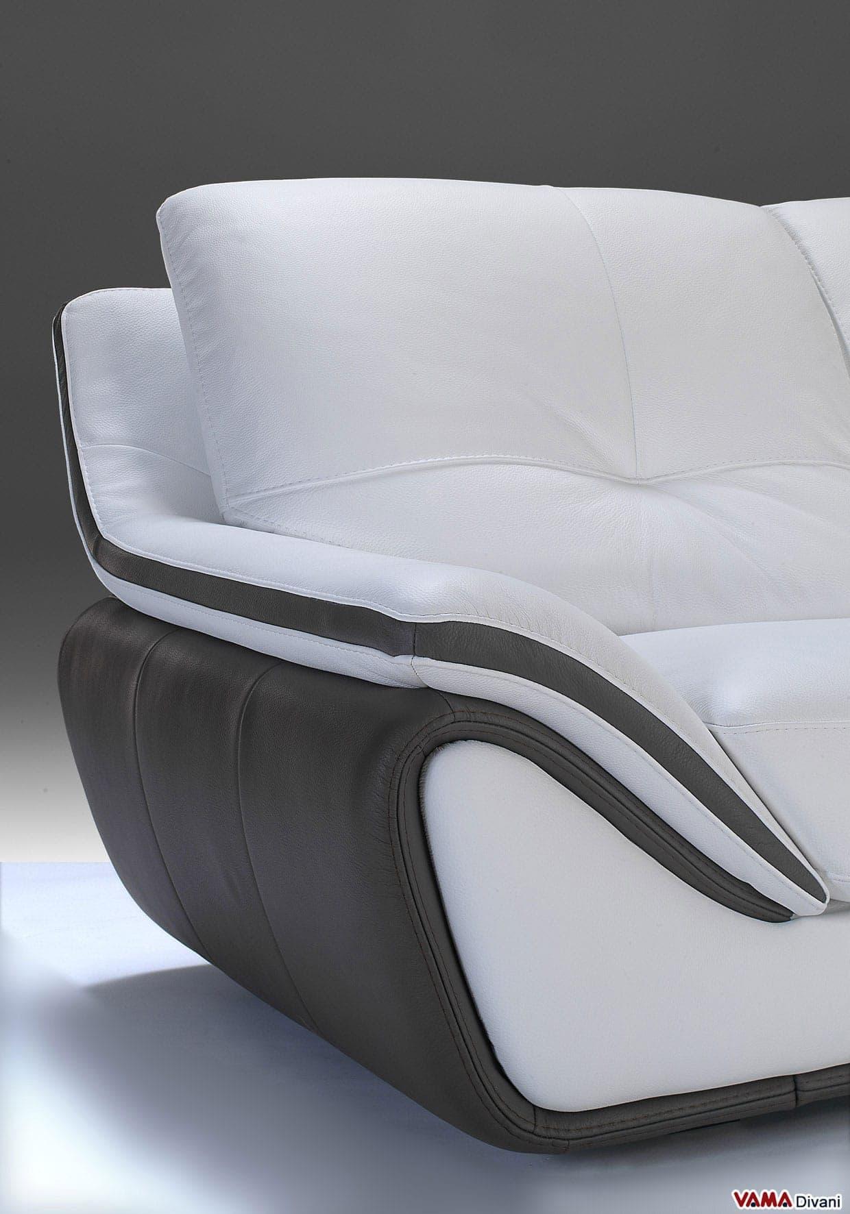 Divano moderno bicolore bora bora vama divani - Pelle del divano rovinata ...