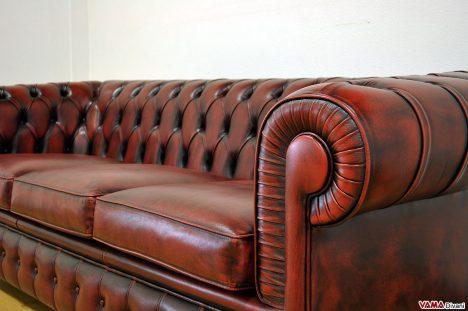 Bracciolo divano in pelle con pieghe