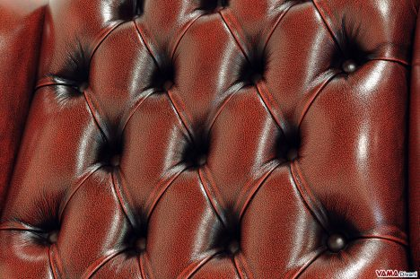 Capitonnè vintage in pelle invecchiata rossa