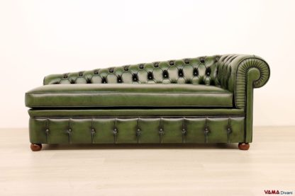 Chaise longue Chesterfield dormeuse verde in pelle asportata