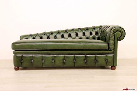 Chaise longue Chesterfield dormeuse verde in pelle asportata