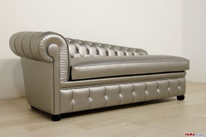 Dormeuse chesterfield argento in ecopelle con swarovski