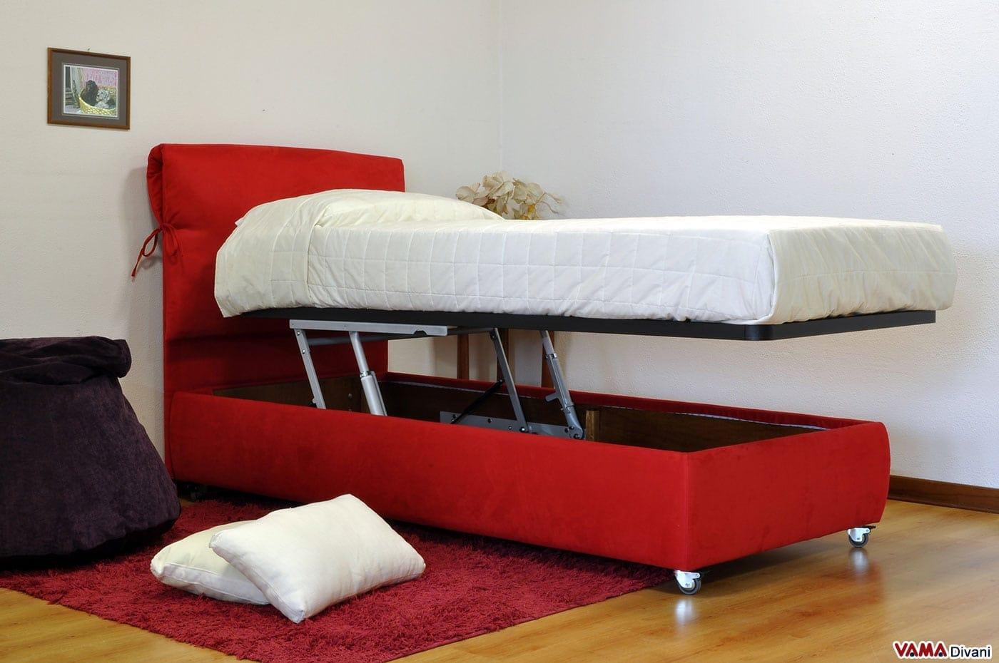 Letto singolo su misura in tessuto rosso con contenitore - Divano letto singolo con contenitore ...