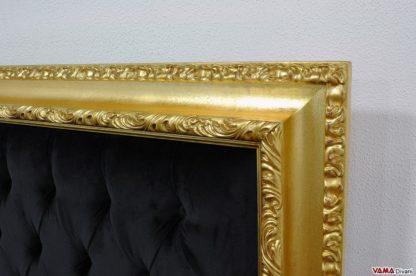 Cornice letto liberty intarsiata color oro