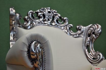Bracciolo poltrona stile barocco foglia argento