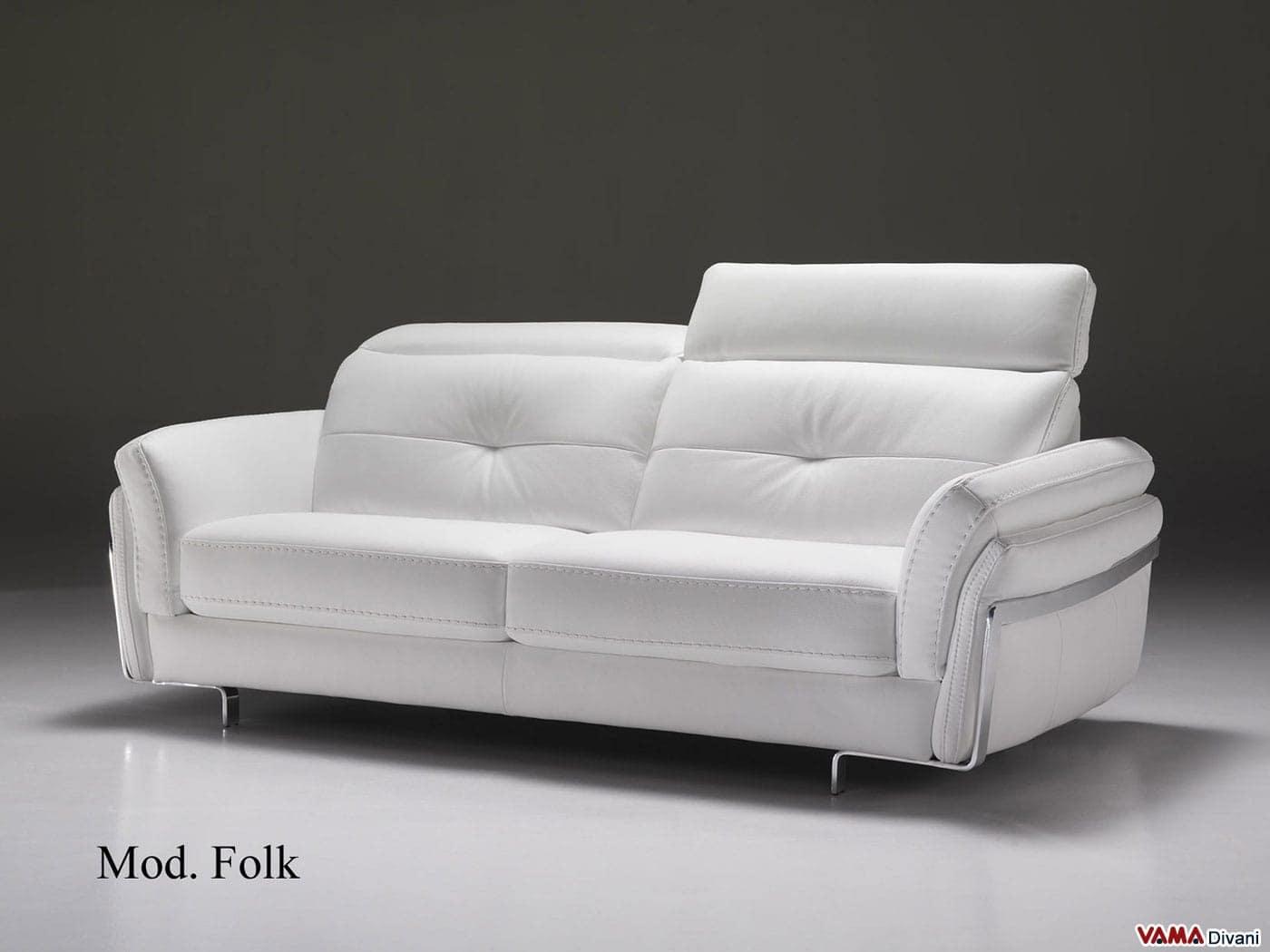 divano in pelle moderno con poggiatesta per maggiore comfort - In Pelle Bianca Con Letti Singoli Divano Letto