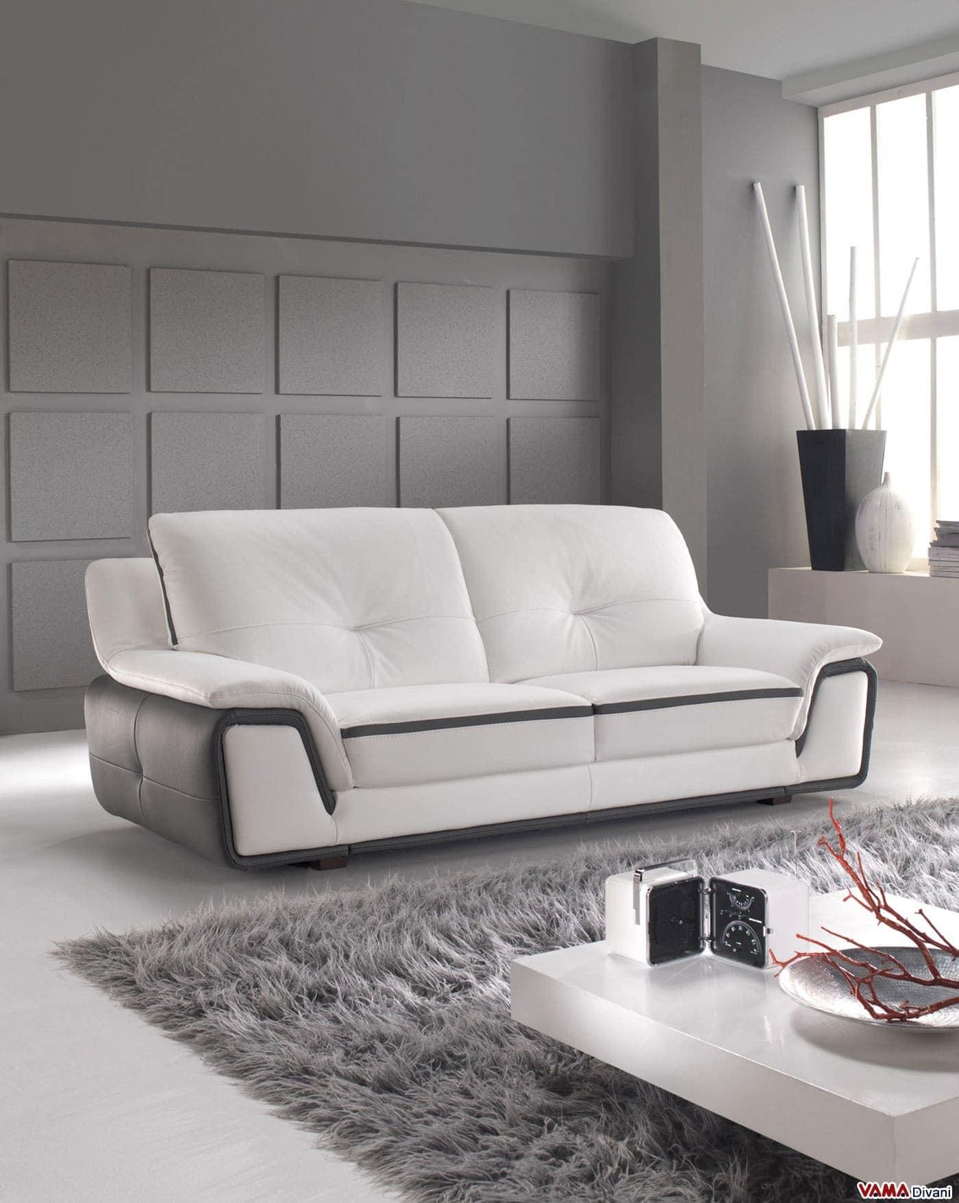 Divano moderno bianco e grigio in vera pelle - Divano bianco e grigio ...