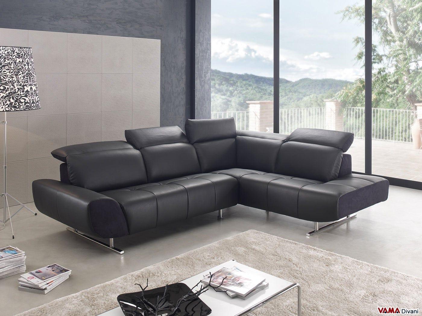divano angolare moderno in pelle nera con poggiatesta