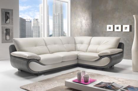Divano angolare moderno in pelle bianco e grigio