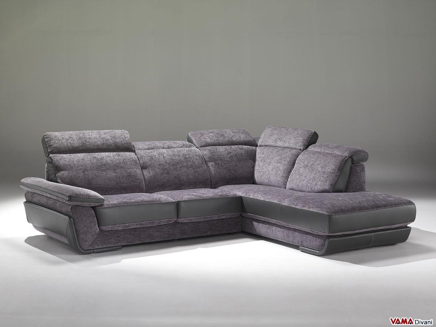 Divano in pelle e tessuto con poggiatesta relax reclinabili - Ikea divano angolare ...