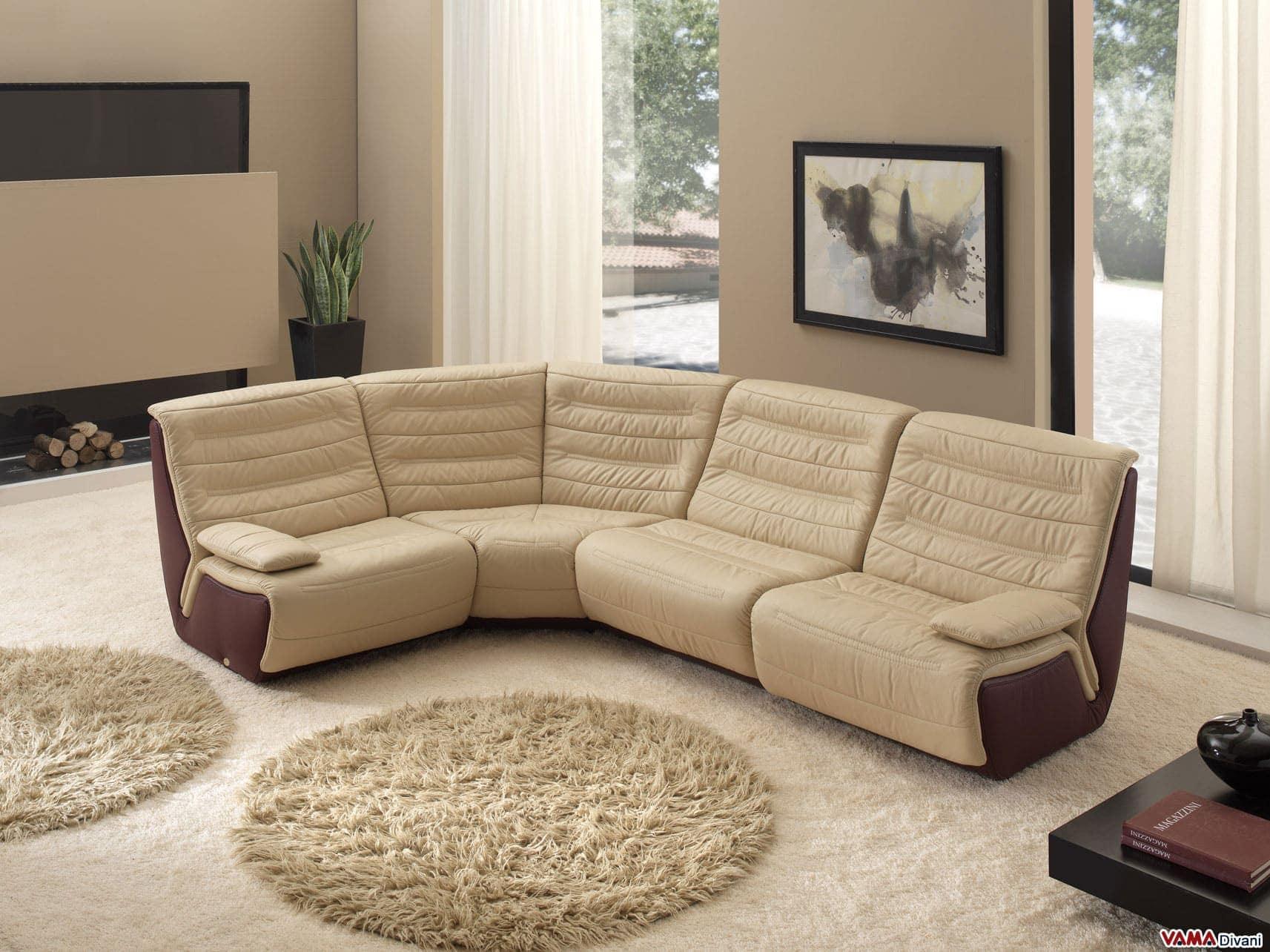 Divano angolare componibile di design in pelle di grandi misure - Copridivano angolare per divano in pelle ...