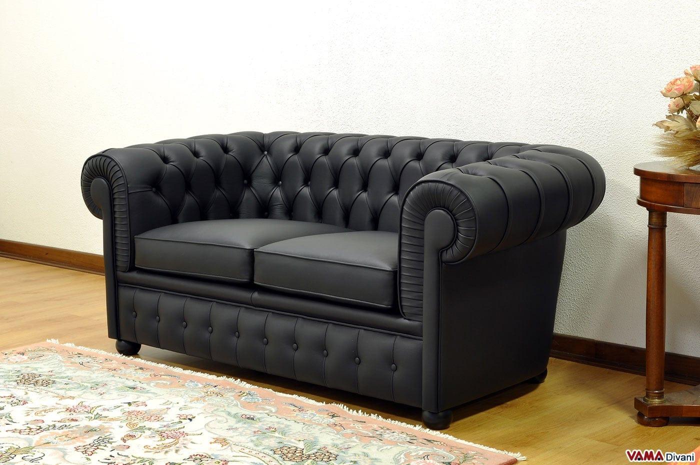 Divano chesterfield 2 posti vama divani for Divano letto in pelle prezzi