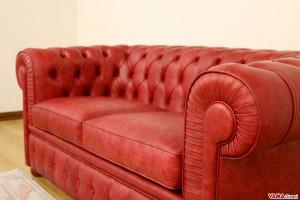 Divano Chester rosso vintage in vera pelle