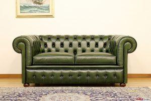 Divano Chesterfield 2 posti in pelle asportabile verde bottiglia inglese