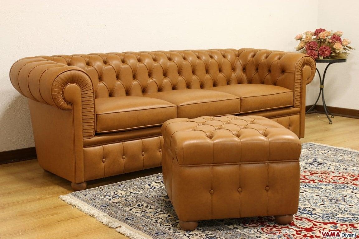 Divano chesterfield 3 posti vama divani for Divano con pouf