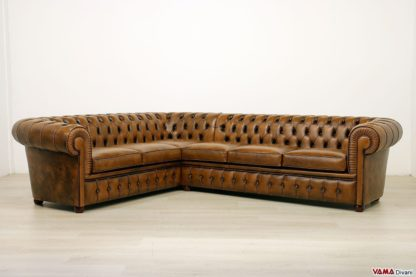 Divano angolare Chesterfield marrone in pelle vintage