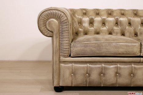 Divano Chesterfield 2 posti in pelle beige asportabile