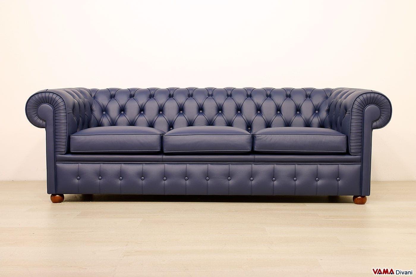 Divano chesterfield 3 posti vama divani for Divano blu colore pareti