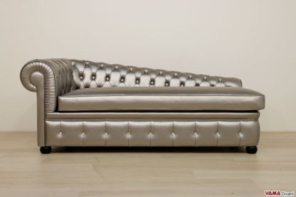 Dormeuse Chesterfield in ecopelle argento