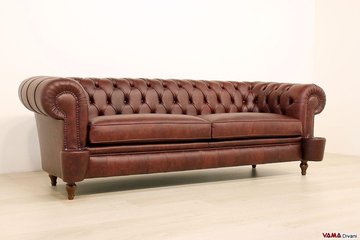 divano chesterfield milano originale in vera pelle vintage