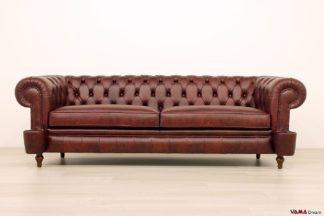 Divano Chesterfield Milano originale in pelle vintage