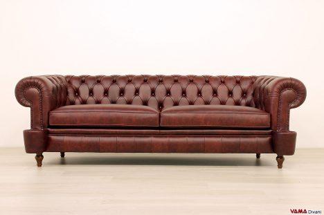 Divano Chesterfield originale rosso bordeaux vintage