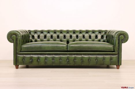 Divano Chesterfield verde inglese 3 posti vintage con chiodi