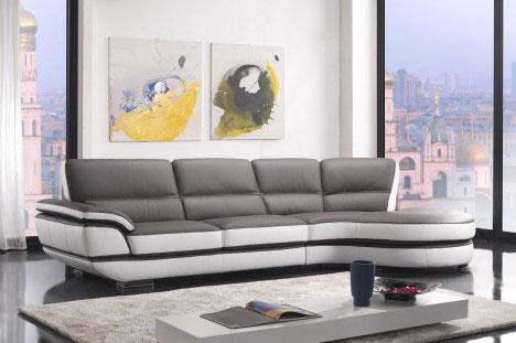 Divano ad angolo moderno design in pelle color tortora
