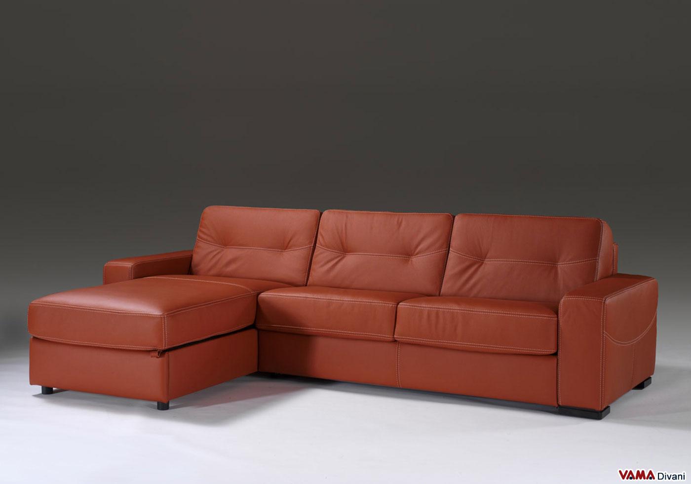 Divano letto con penisola contenitore vama divani for Divano a isola