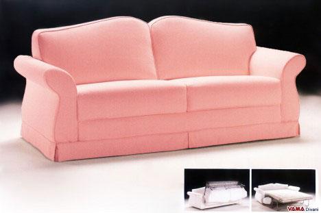 Divano Letto Matrimoniale classico in stoffa rosa