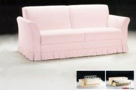 Divano Letto Matrimoniale Classico in tessuto rosa chiaro