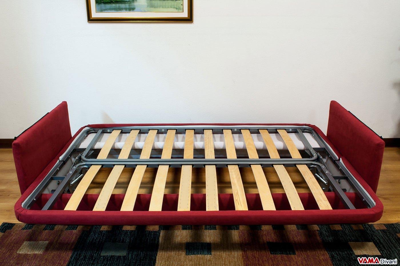 Divano letto matrimoniale clic clac 3 posti apertura a libro - Rete letto legno ...