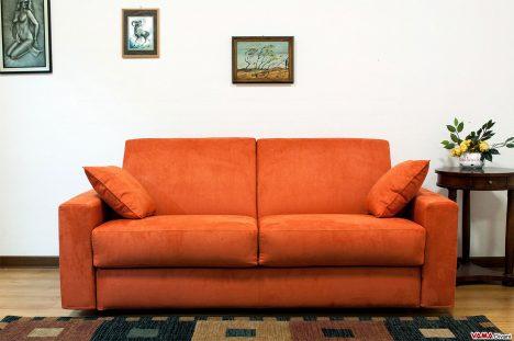 Divano Letto matrimoniale in Microfibra Arancione con bracciolo quadrato