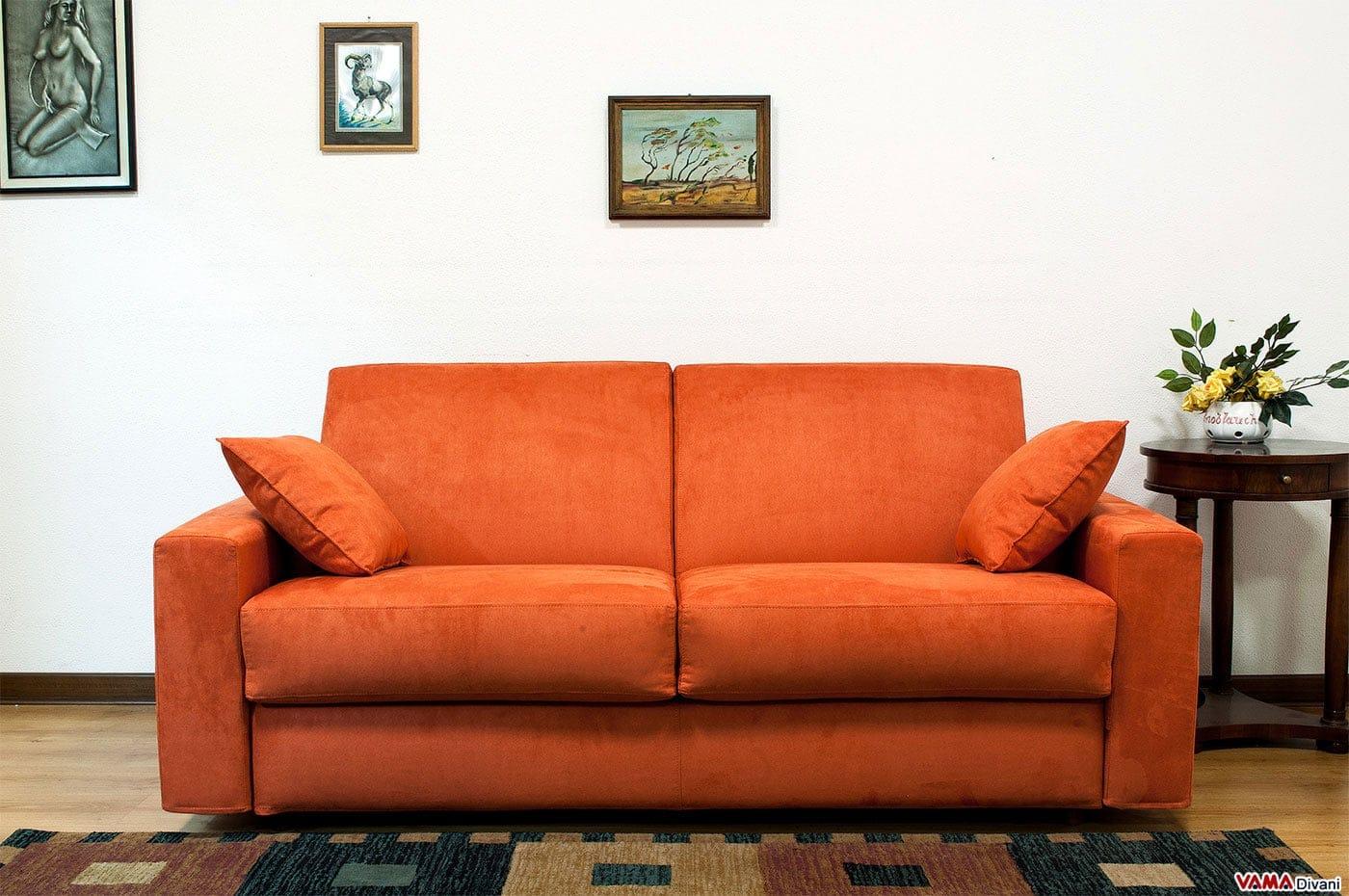 Divano Letto matrimoniale in Microfibra Arancione con bracciolo ...