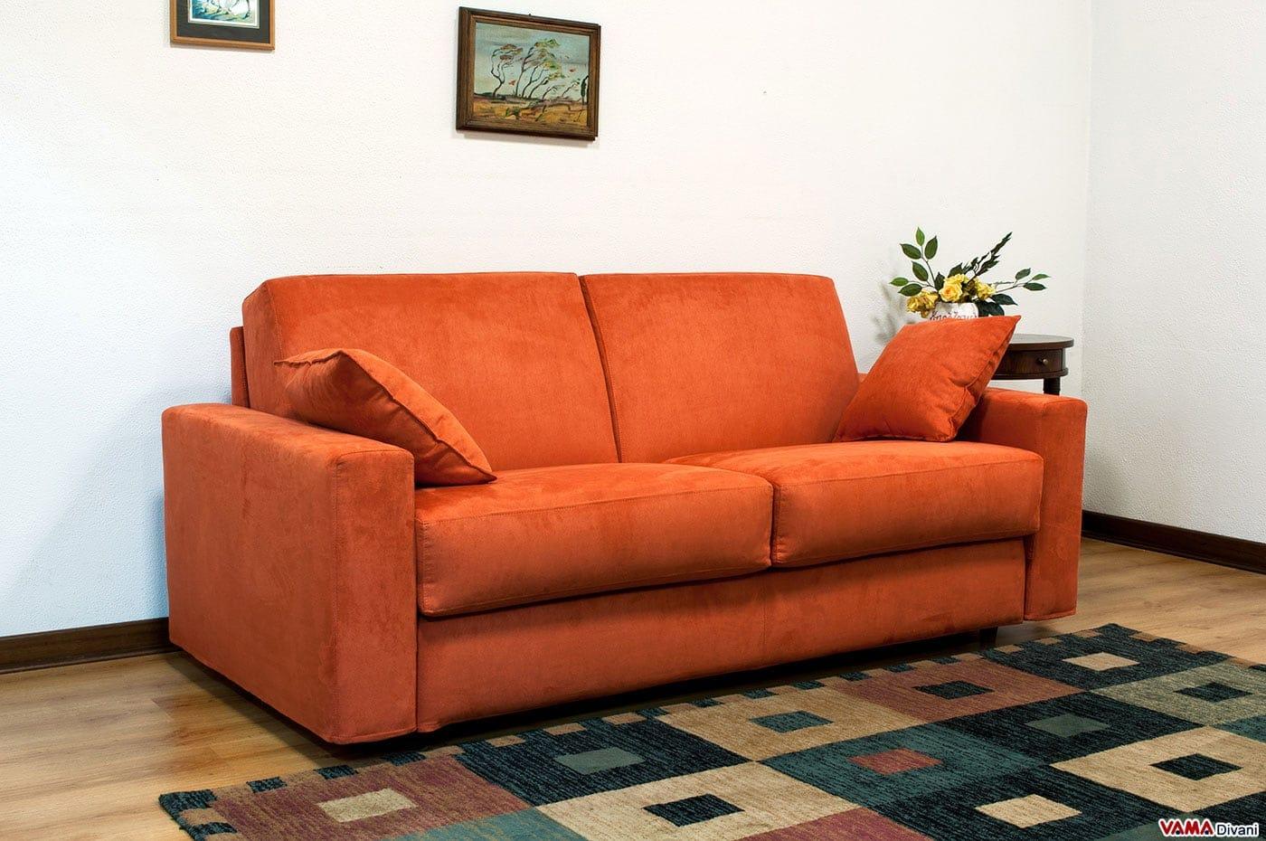 Divano letto matrimoniale in microfibra squadrato e - Letto a divano ...