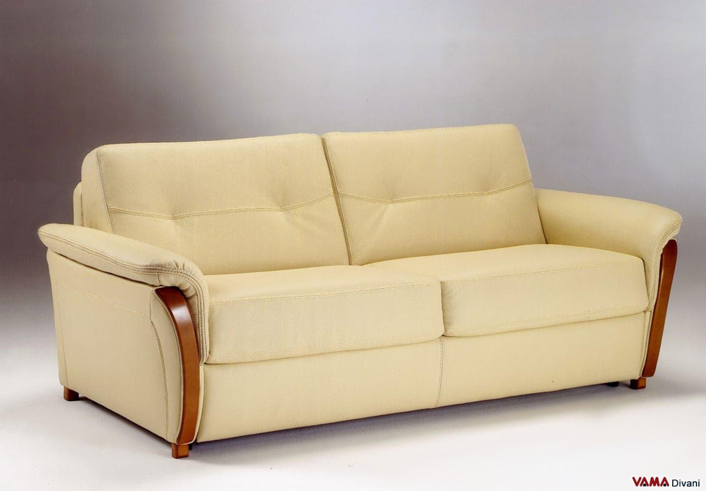 Divano letto matrimoniale in pelle con legno nei braccioli - Letto a divano ...