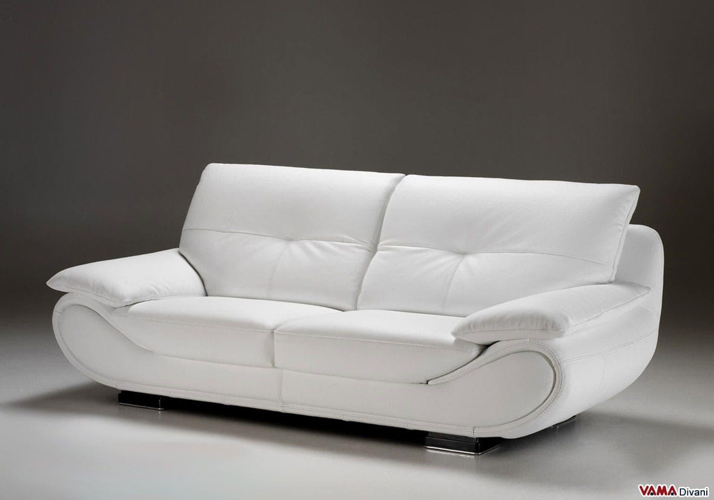 Divano in pelle moderno new zealand vama divani - Divano in pelle bianco ...
