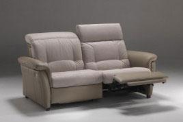 Divano relax 3 posti reclinabile in tessuto e pelle