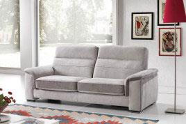 Divano con sedute scorrevoli in tessuto grigio