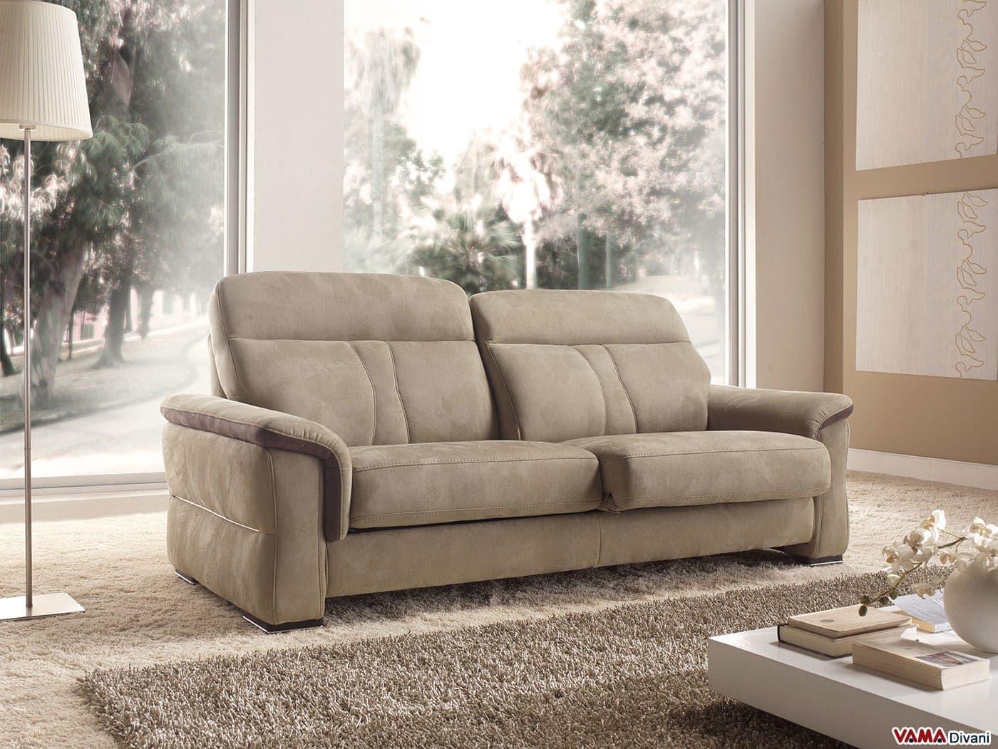 divano moderno in tessuto e pelle con sedute allungabili - Divani Con Seduta Allungabile